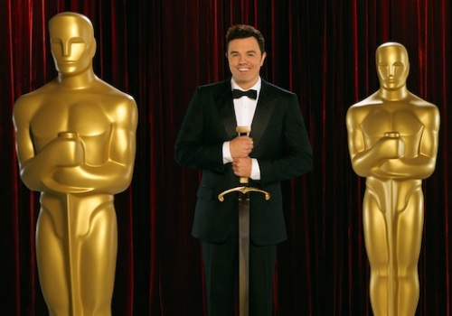 Seth MacFarlane with Oscars