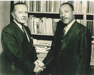 Rabbi Max Nussbaum and Dr. Martin Luther King, Jr. taken at Temple Israel of Hollywood on February 26, 1965 (PRNewsFoto/Temple Israel of Hollywood)