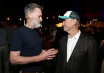 "EXCLUSIVE - Bill Pullman and Director/Writer Roland Emmerich seen at the ""Independence Day Resurgence"" Global Production Event on Monday, June 22, 2015, in Albuquerque, New Mexico. (Photo by Eric Charbonneau/Invision for Twentieth Century Fox/AP Images)"